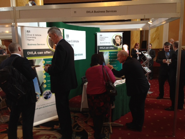 Visitors looking at DVLA's business services stand at the Procurex Wales Live event