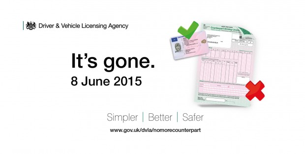 paper counterpart to the photocard driving licence with a cross and photocard driving licence with a tick with text saying It's gone. 8 June 2015