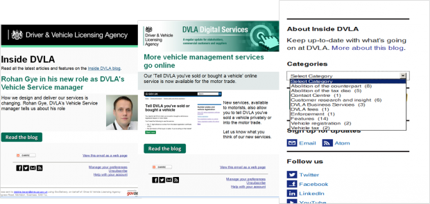 Screen shots of Inside DVLA and DVLA Digital Services blog homepages