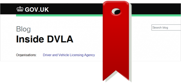 screen shot of Inside DVLA blog page with a bookmark