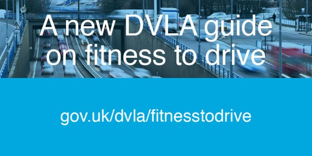 Vehicles on a road and hyperlink for new guidance (gov.uk/dvla/fitnesstodrive)