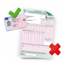 Driving licence and paper counterpart