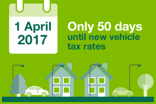 Text saying 'Only 50 days to go until new vehicle tax rates on 1 April 2017'