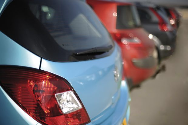 Image of row of parked cars